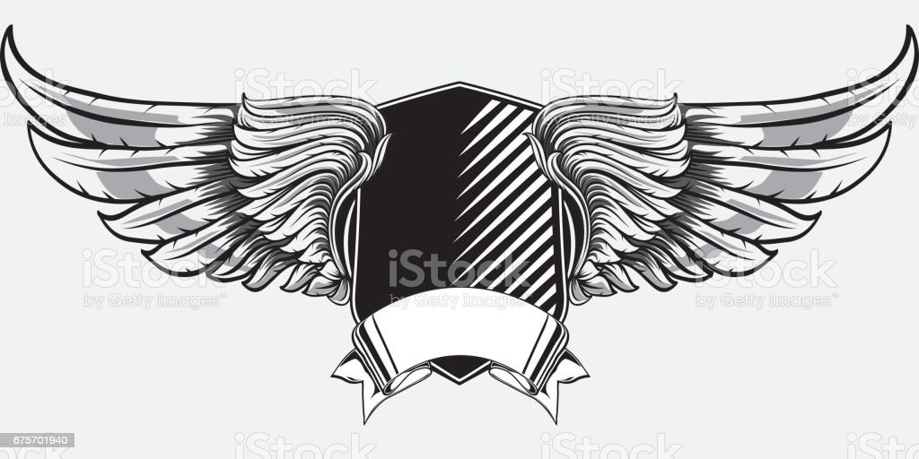 Black and white winged emblem royalty-free black and white winged emblem stock vector art & more images of antique