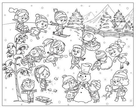 Black And White, Winter kids activities. Snow games, smiling little girls and boys in winters clothes fun outdoors