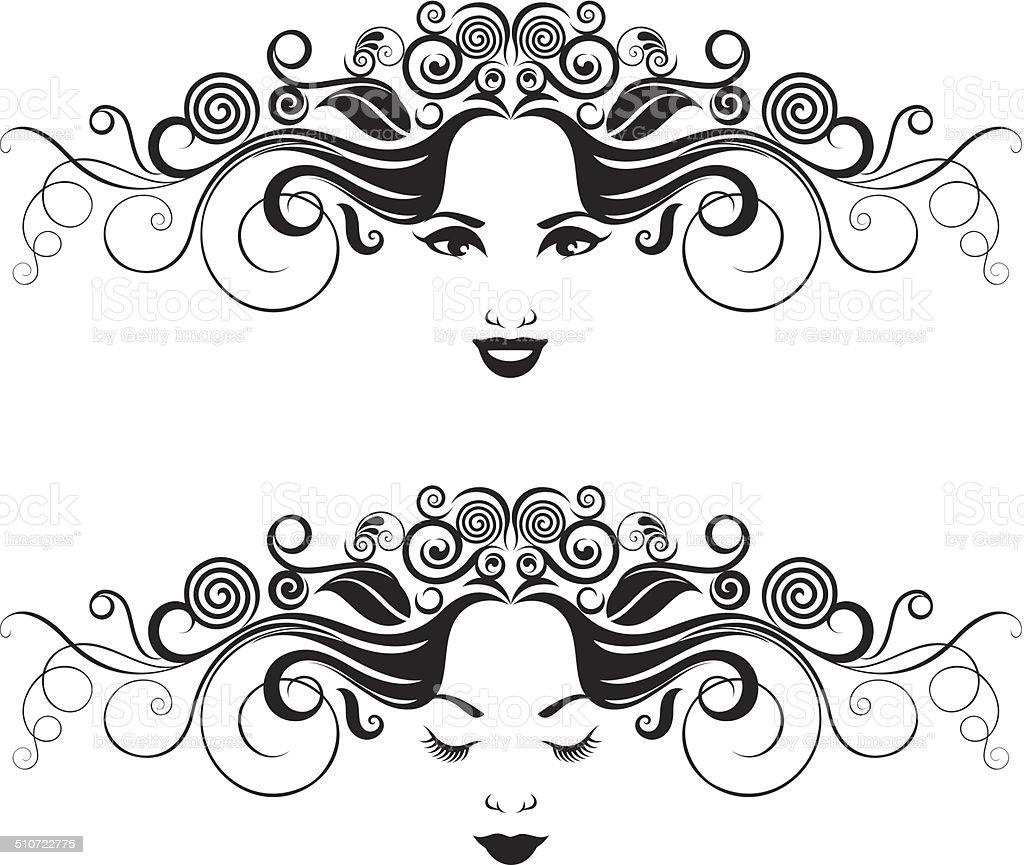 Czarno-biały kobiety portret. - Grafika wektorowa royalty-free (Czarno biały)