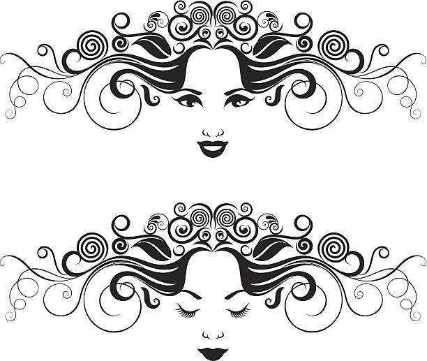 Czarno-biały kobiety portret. – artystyczna grafika wektorowa