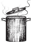 Kitchen Pot with simmering with open lid and steam. Vintage and retro woodcut look. Includes open lid, woodcut style. On white or isolated on white background. Perfect for cook off design template or poster advertisement flyer. Cooking pot, kitchenware, cooking, food, food preparation, gathering, preparing food or soup, Vector illustration black and white line work.