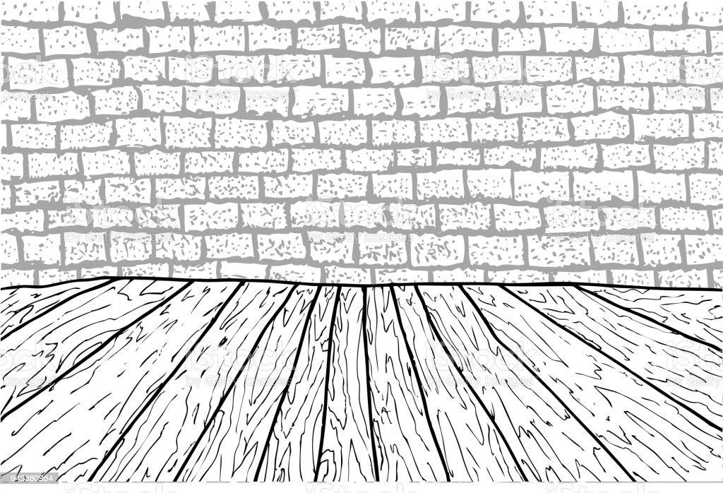 Schwarze Und Weisse Holzwand Stock Und Stein Stock Vektor Art Und
