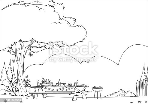 istock Black And White, Wooden picnic table with benches on park background 1298159584