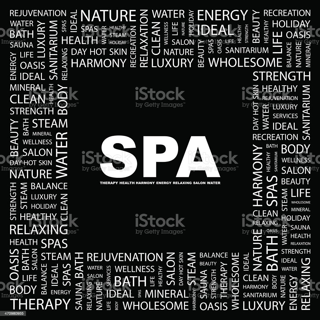 Black and white word map for SPA vector art illustration
