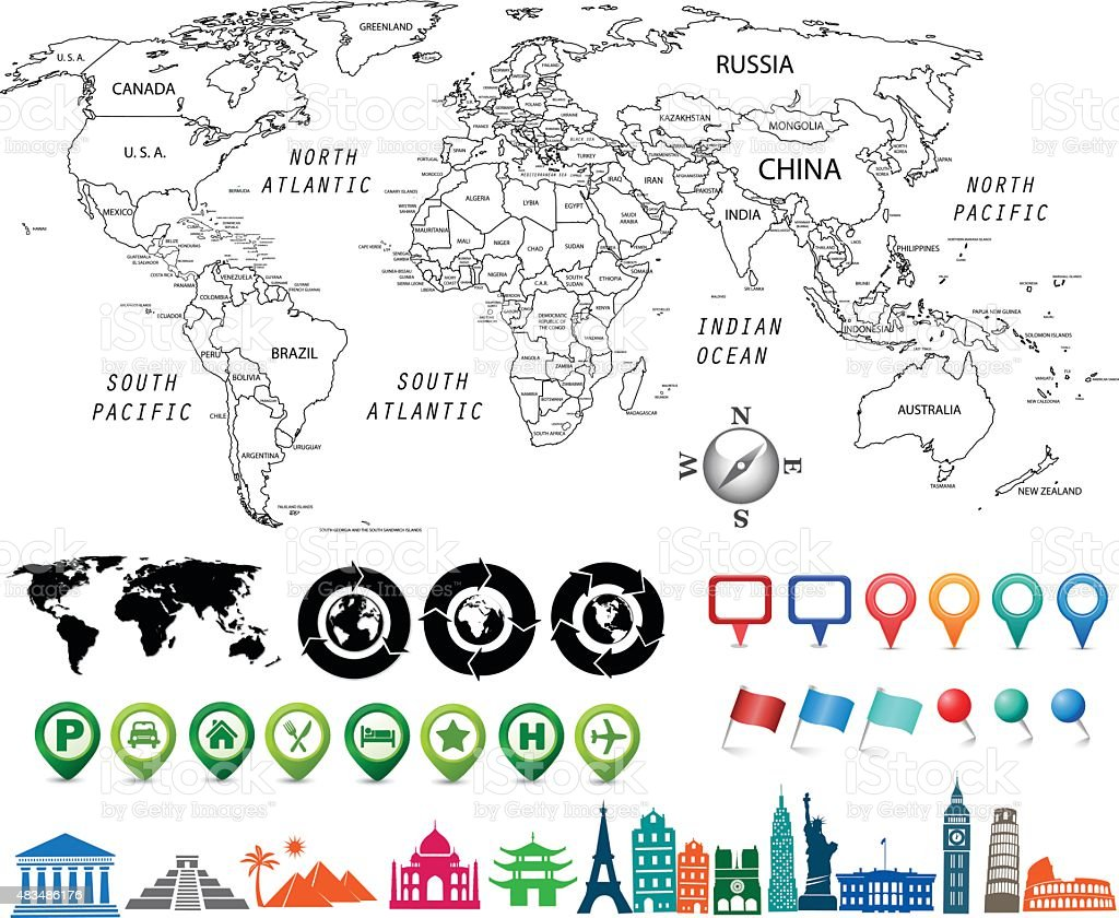 black and white world map kit vector art illustration