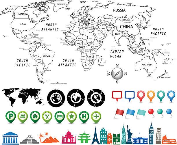 ilustrações, clipart, desenhos animados e ícones de preto e branco mapa-múndi kit - mapa do oriente médio