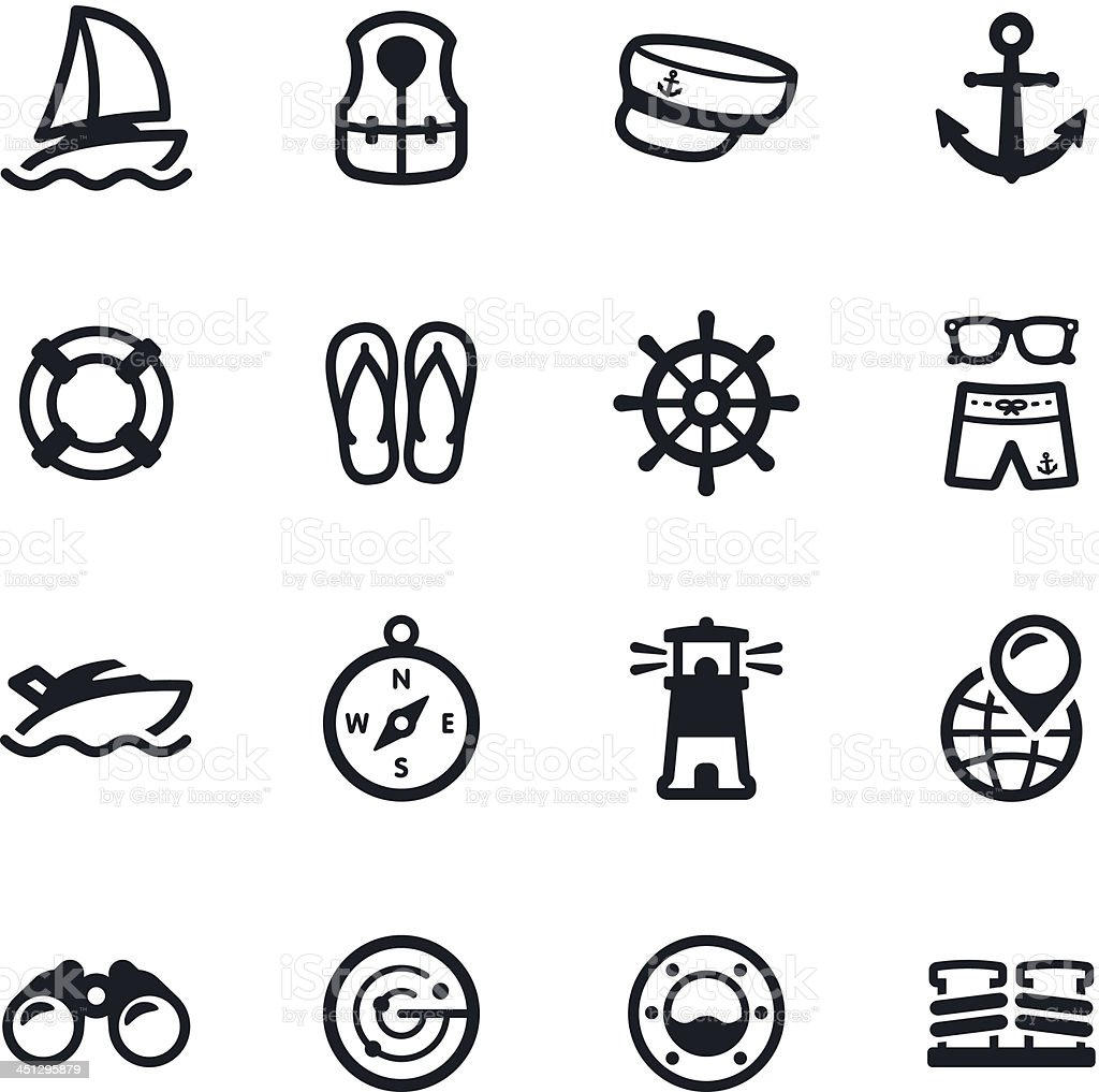 Black and white yacht club icons vector art illustration