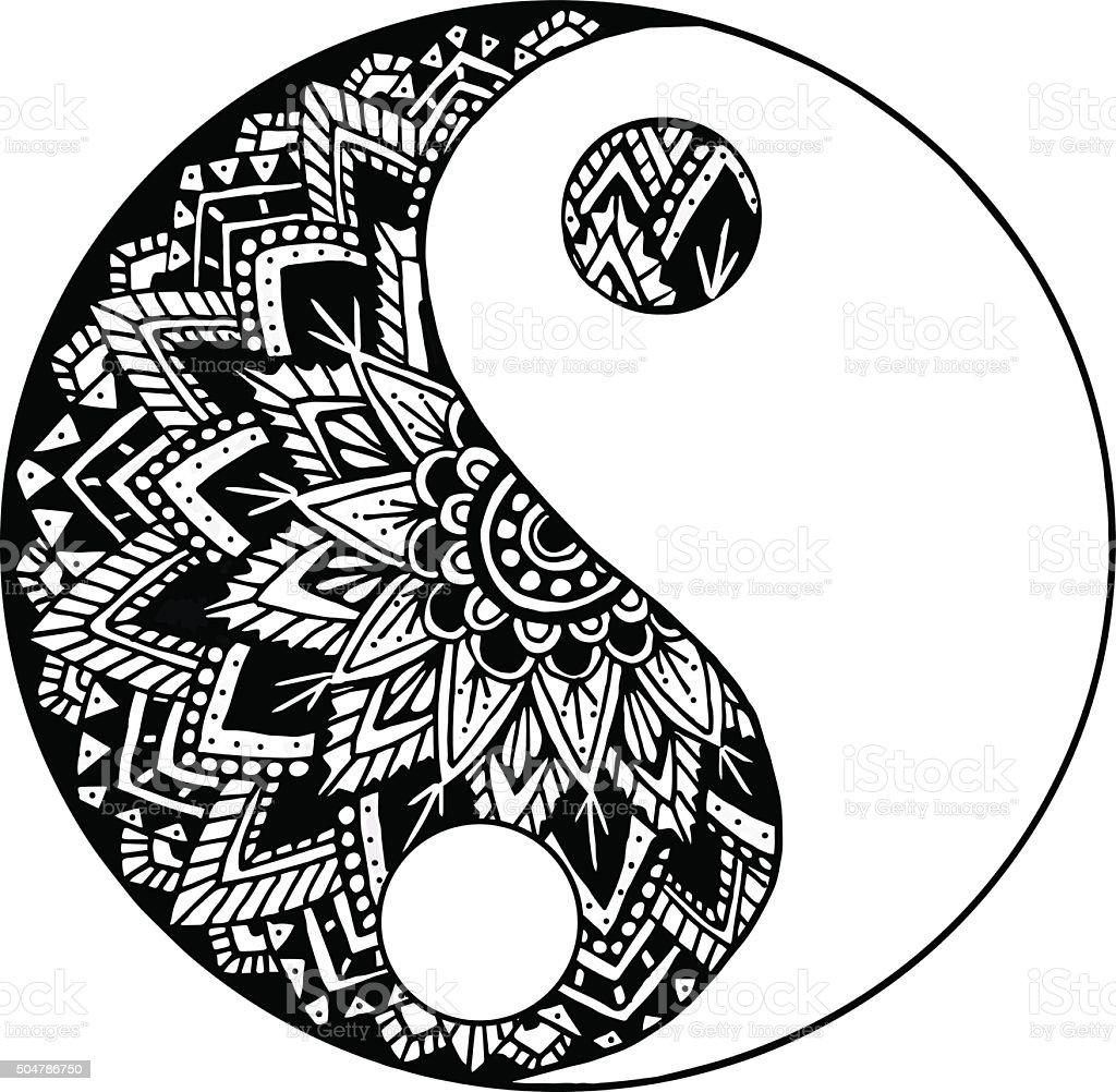 black and white yin yang mandala stock vector art more images of rh istockphoto com Yin Yang Mandalas to Color Yin Yang Mandalas to Color
