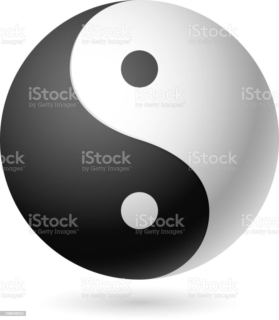 Black and white Yin Yang symbol isolated in white vector art illustration