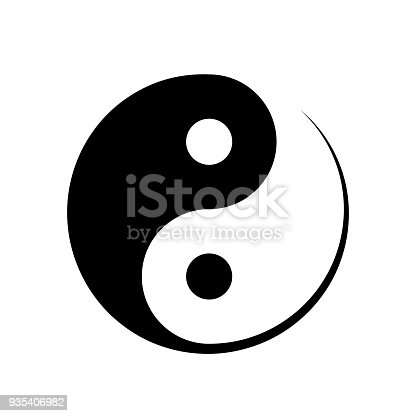 Black and white Yin Yang symbol symbolising harmony, unity, balance, male and female, positive and negative in Chinese philosophy, vector