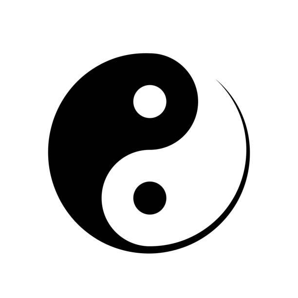 ilustraciones, imágenes clip art, dibujos animados e iconos de stock de símbolo de yin yang del blanco y negro - yin yang symbol