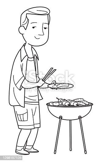 Black And White, Young caucasian white man cooking shashlik