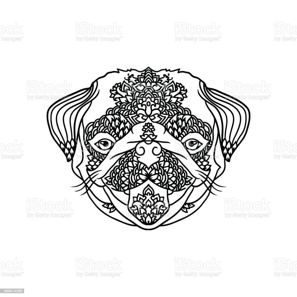 Ilustración de Pug Negro Y Wite Con Adornos Florales étnicos Para ...