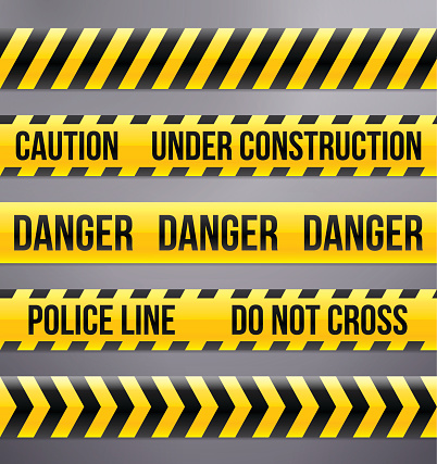 Black and Yellow Caution and Warning Tapes
