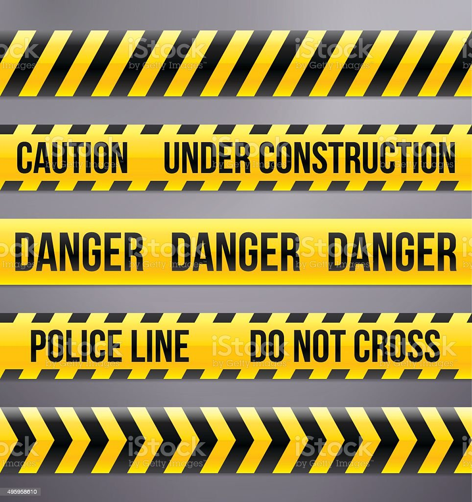 Black and Yellow Caution and Warning Tapes vector art illustration