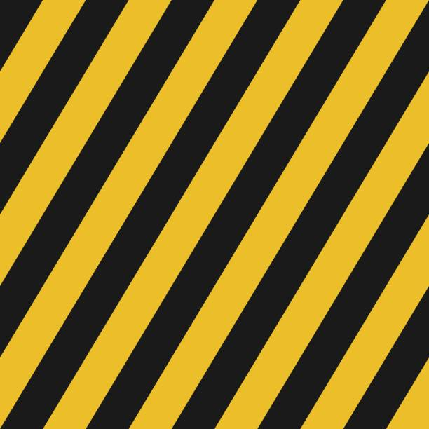 ilustrações de stock, clip art, desenhos animados e ícones de black and yellow diagonal lines seamless pattern for street background warning sign or wallpaper, label, banner etc. vector design - grosso