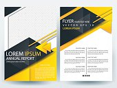 Black and Yellow  flyer Brochure Template design of annual report  with  layout size A4 , Vector illustration