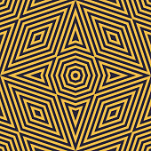 Black and yellow geometric lines seamless pattern. Stylish vector ornament