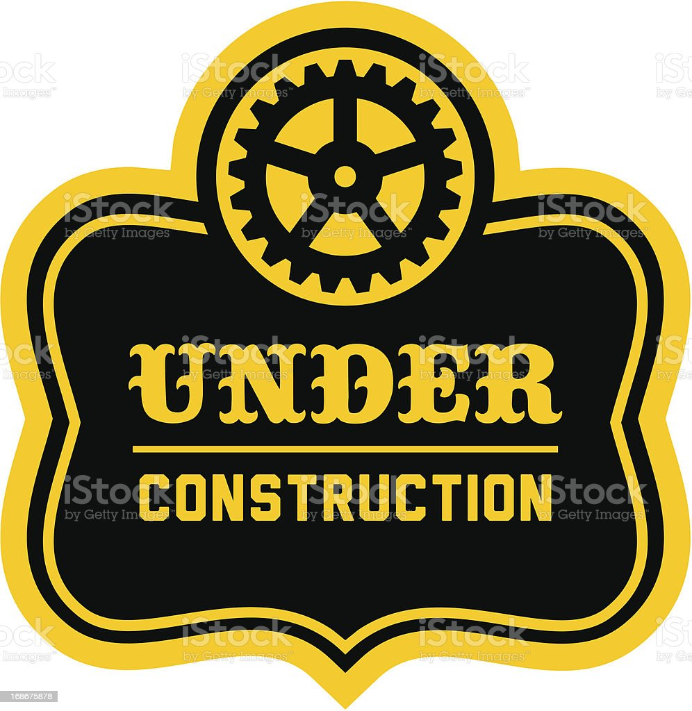 A black and yellow label, Under Construction  royalty-free stock vector art