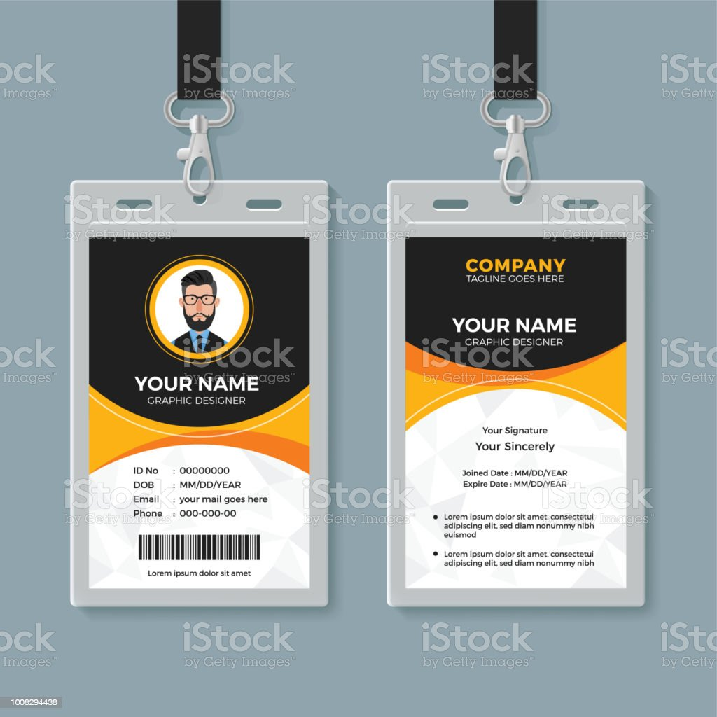 black and yellow office id card template stock