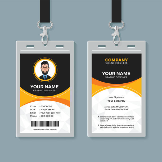Black and Yellow Office ID Card Template Creative identity card design id card stock illustrations