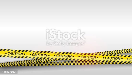 istock Black and yellow stripes set. Warning tapes. Danger signs. Caution ,Barricade tape, Do not cross, police, scene barrier tape. Vector flat style cartoon illustration 1164275601