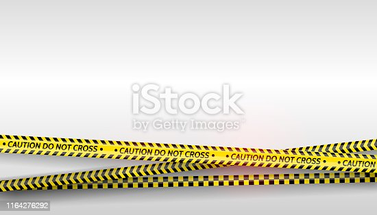 istock Black and yellow stripes set. Warning tapes. Danger signs. Caution ,Barricade tape, Do not cross, police, scene barrier tape. Vector flat style cartoon illustration 1164276292