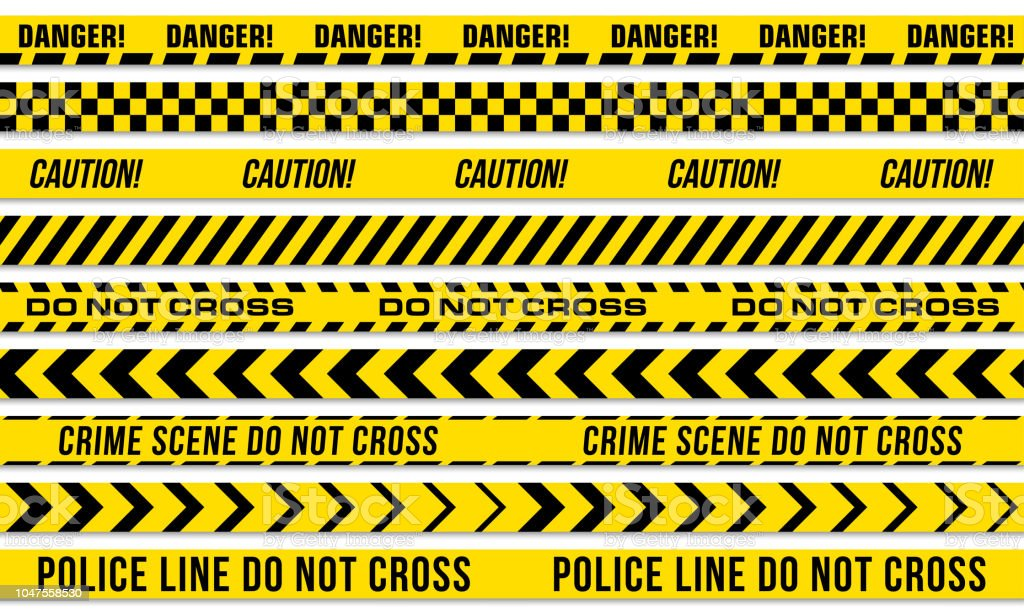 Black and yellow stripes vector police tape for do not cross, or danger caution and crime scene line - Royalty-free Acessibilidade arte vetorial