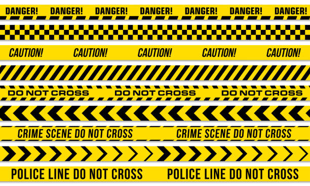 Black and yellow stripes vector police tape for do not cross, or danger caution and crime scene line Black and yellow stripes vector police tape for do not cross, or danger caution and crime scene line crime scene stock illustrations