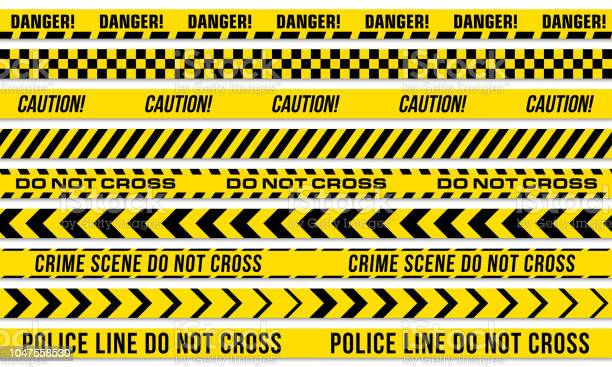 Black And Yellow Stripes Vector Police Tape For Do Not Cross Or Danger Caution And Crime Scene Line - Arte vetorial de stock e mais imagens de Acessibilidade
