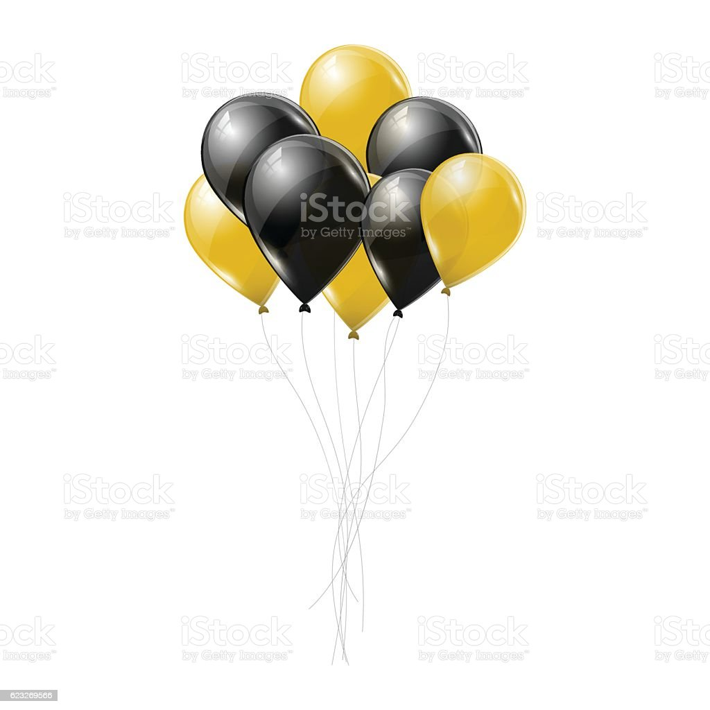 Black and yellow transparent helium balloons on white background. vector art illustration