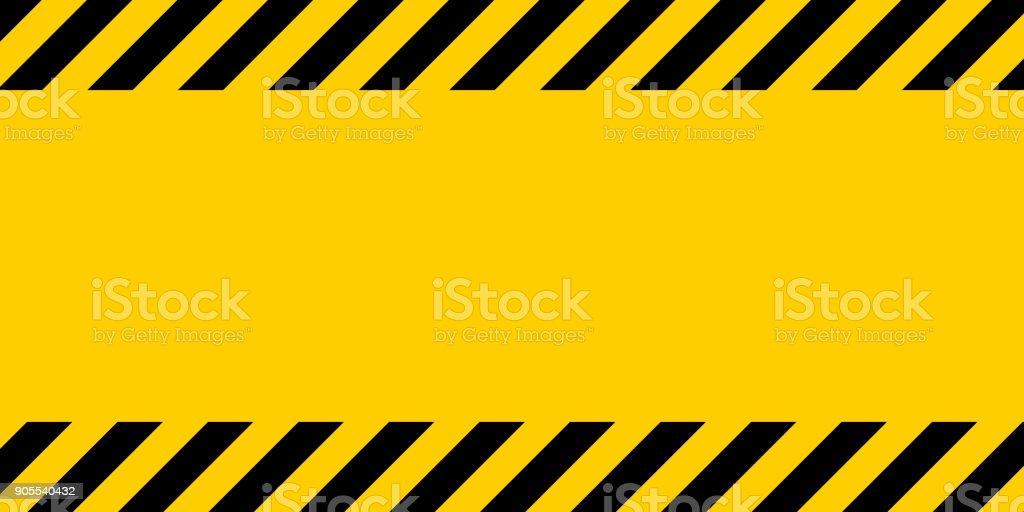 Linha de aviso amarelo e preto listrado fundo retangular, amarelo e preto listras na diagonal - Vetor de Abstrato royalty-free