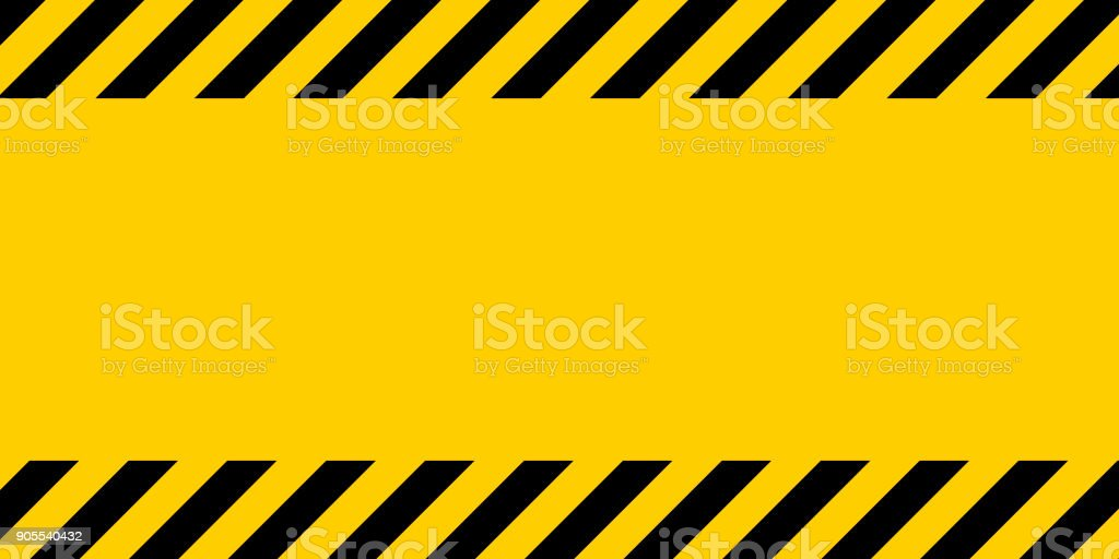 Black and yellow warning line striped rectangular background, yellow and black stripes on the diagonal vector art illustration