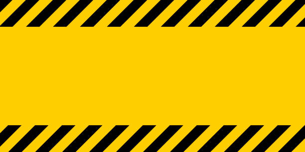 black and yellow warning line striped rectangular background, yellow and black stripes on the diagonal - yellow stock illustrations