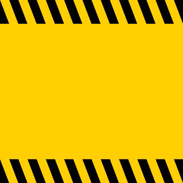 黑色和黃色警告線條紋正方形標題背景, 向量標誌背景為警告通知, 範本重要消息 - 安全 幅插畫檔、美工圖案、卡通及圖標