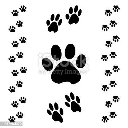Black animal paw track. Isometric effect. Vector illustration