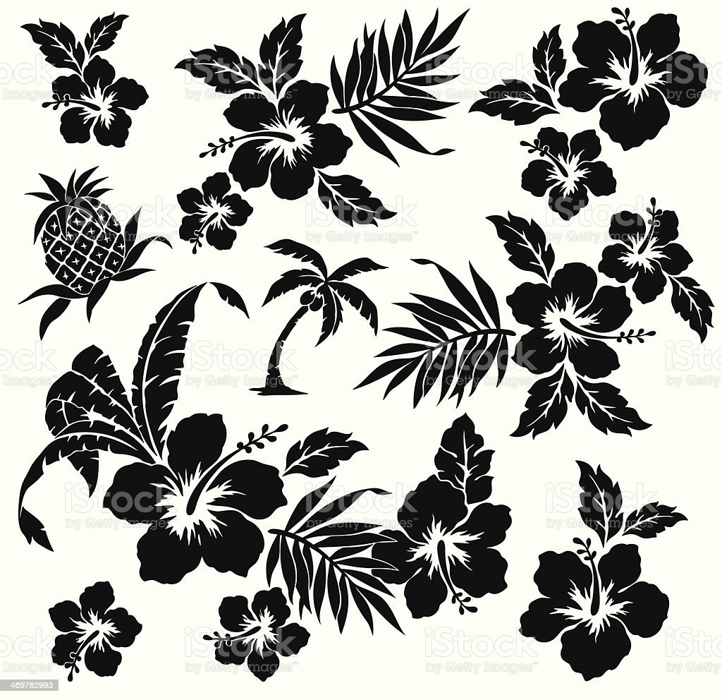 A black animated picture of the flower hibiscus on white vector art illustration