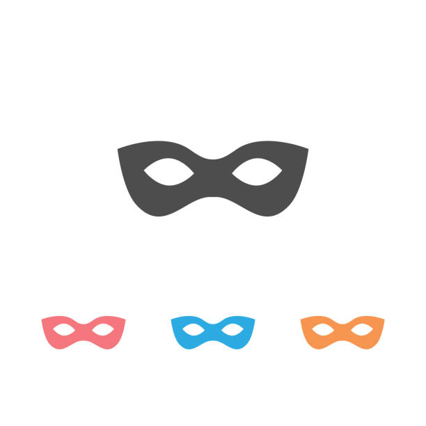 Black anonymous mask vector icon set isolated on white background Black anonymous mask vector icon set isolated on white background bandit stock illustrations