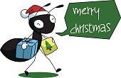 Black Ant Cartoon Christmas Illustration