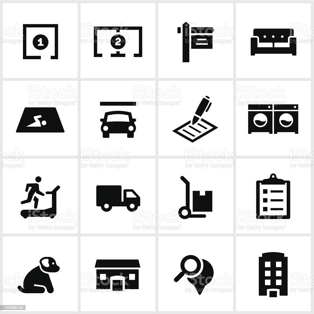 Black Apartment Rental Icons royalty-free stock vector art