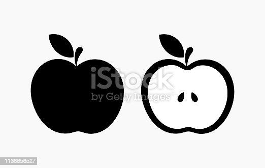 Black apple shape icons. Vector illustration.