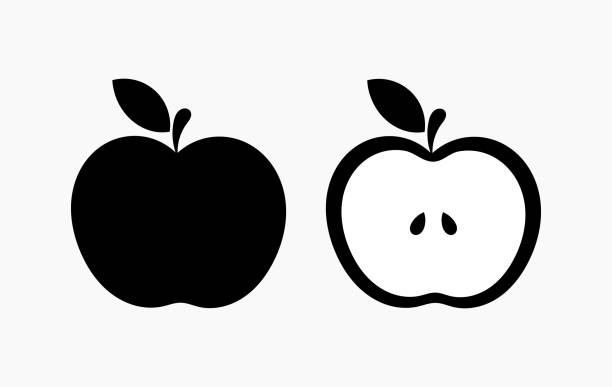 illustrazioni stock, clip art, cartoni animati e icone di tendenza di black apple shape icons - mela
