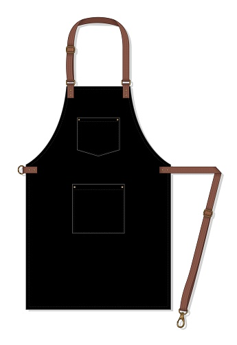 Black Apron Design With Leather Adjustable Strap And Two Pocket On White Background Vector