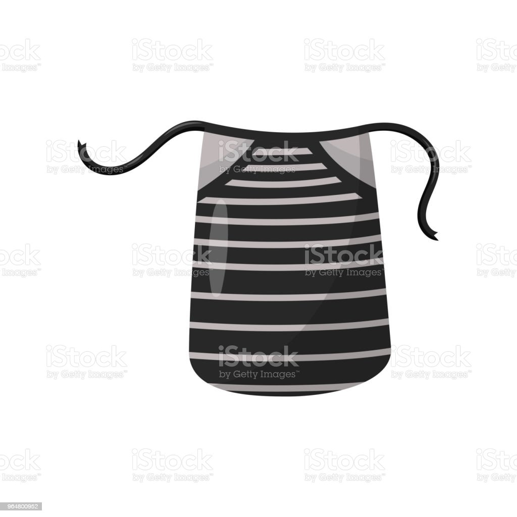 Black apron with gray stripes. Protective garment for chef of restaurant. Flat vector element for poster or flyer of culinary courses royalty-free black apron with gray stripes protective garment for chef of restaurant flat vector element for poster or flyer of culinary courses stock vector art & more images of black color