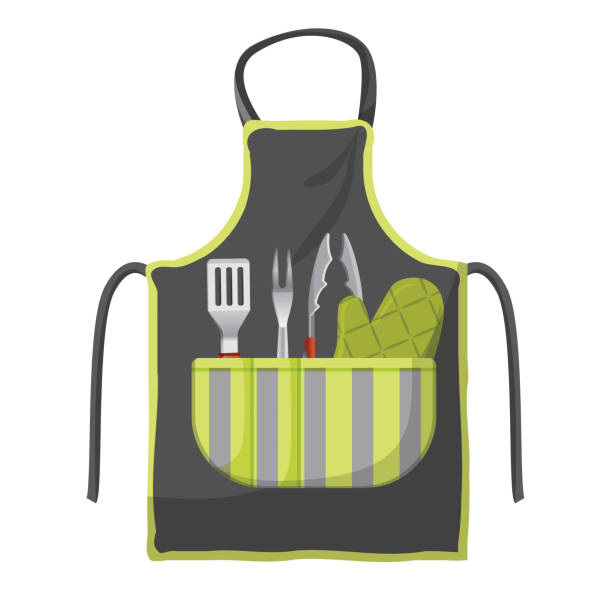 Black apron with various accessories in pocket for grill isolated - illustrazione arte vettoriale