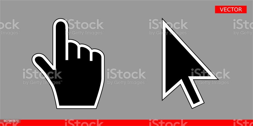Black Arrow Cursor And Hand Cursor Icons Vector Illustration Signs