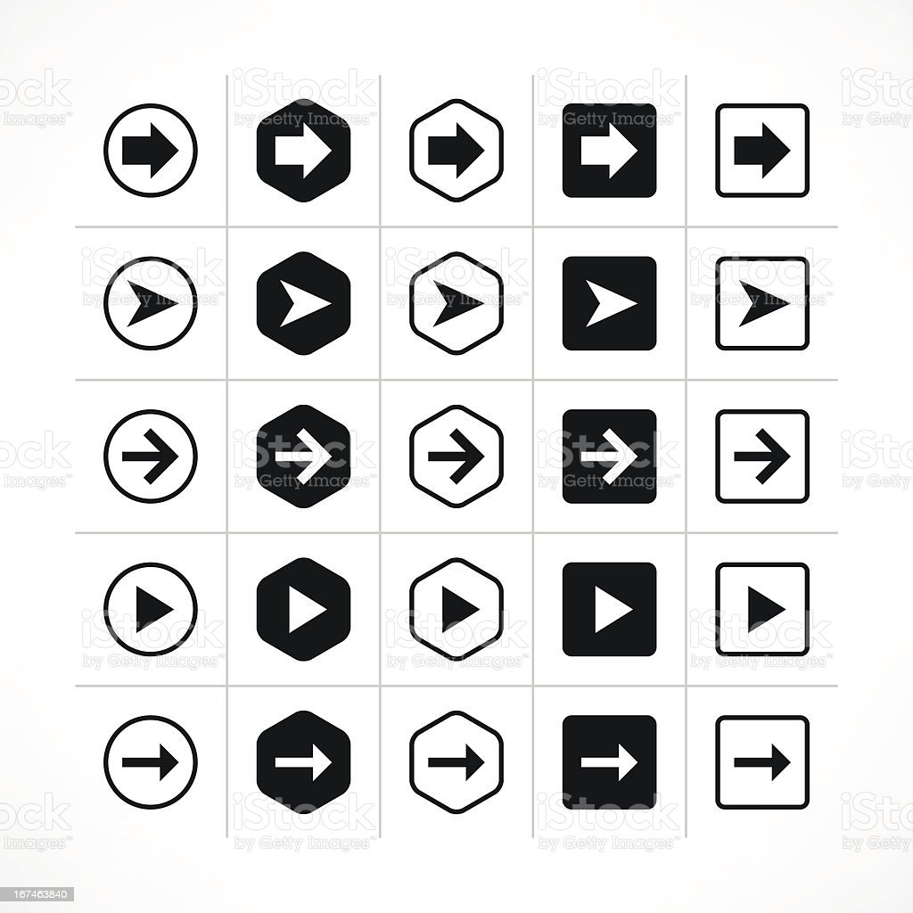 Noir flèche icône web pictogram direction simple bouton - Illustration vectorielle