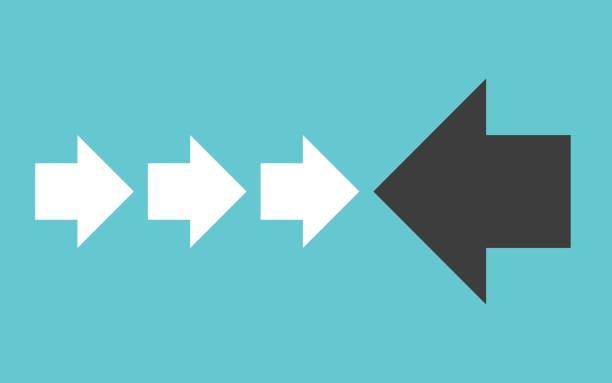Black arrow vs white vector art illustration