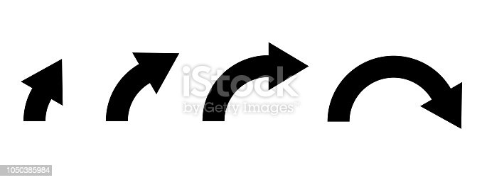 Black arrows. Curved signs. Vector illustration isolated on white background