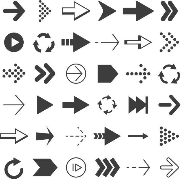 Black arrows set. Vector pictures isolate vector art illustration